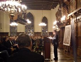 Yfaat Weiss während ihrer Dankesrede im Bremer Rathaus. Bremen, 7. Dezember 2012. © Torsten Schulz.