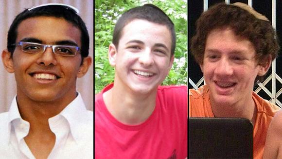 Die drei entführten israelischen Schüler Eyal Yifrach, Gilad Shaer und Naftali Frenkel