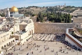 Der Tempelberg mit dem Felsendom und der Westmauer in Jerusalem. © Wiki Commons