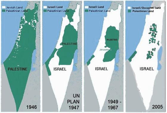 Vermeintliche israelische Expansionsgelüste: von »Antizionisten« oft und gern herangezogene Kartenserie