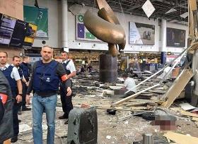 Ein Flughafengebäude in Brüssel nach den terroristischen Anschlägen, 22. März 2016