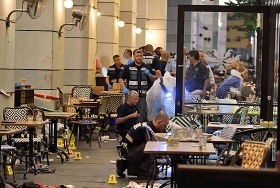 Israelische Sicherheitskräfte am Ort des Terroranschlags in Tel Aviv, 8. Juni 2016