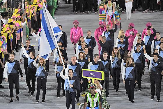 Die israelische Olympiamannschaft bei der Eröffnungsfeier in Rio de Janeiro, 5. August 2016. © Pedro Ugarte, Getty Images