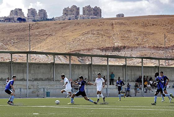 Beitar Maale Adumim in seinem Meisterschaftsspiel gegen Ironi Modiin, 23. September 2016. © Thomas Coex, Getty Images