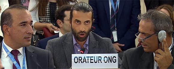 Mosab Hassan Yousef spricht zum Menschenrechtsrat der Vereinten Nationen, Genf, 25. September 2017 (© UN Watch)