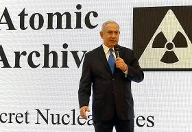 Der israelische Premierminister Benjamin Netanjahu stellt die Recherchen des Mossad zum iranischen Atomprogramm vor, Tel Aviv, 30. April 2018