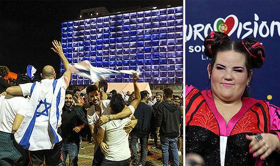 Israelis feiern die ESC-Gewinnerin Netta Barzilai, 12. Mai 2018